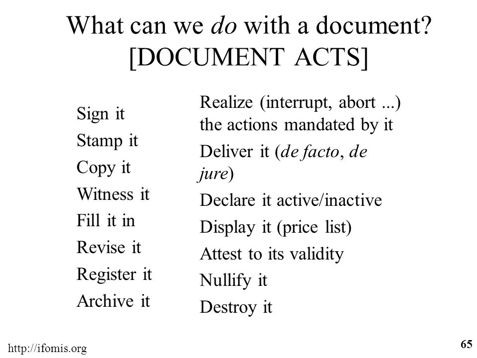 What can we do with a document [DOCUMENT ACTS]